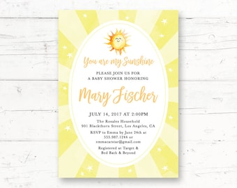 Ray of Sunshine, Baby Shower, Printable Invitation, Couples Shower, Sun, You are my Sunshine, Little Sunshine, Custom Printable Invite