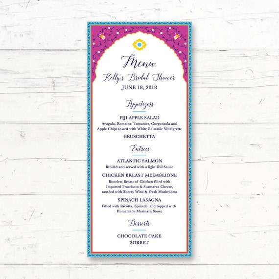 photograph about Printable Menu Card named Moroccan, Arabian, Printable, Menu Card, Marriage, Bridal Shower, Boy or girl Shower, Birthday Get together, Supper, Indian, Spanish, Custom made Printable Menu