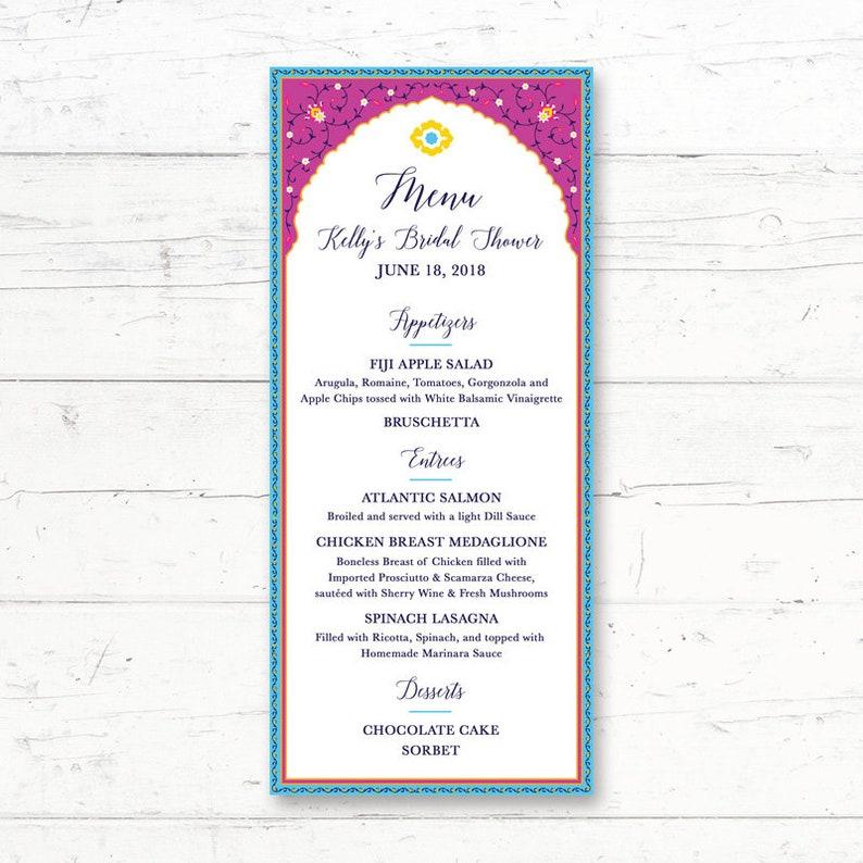 7774b3918be0 Moroccan Arabian Printable Menu Card Wedding Bridal