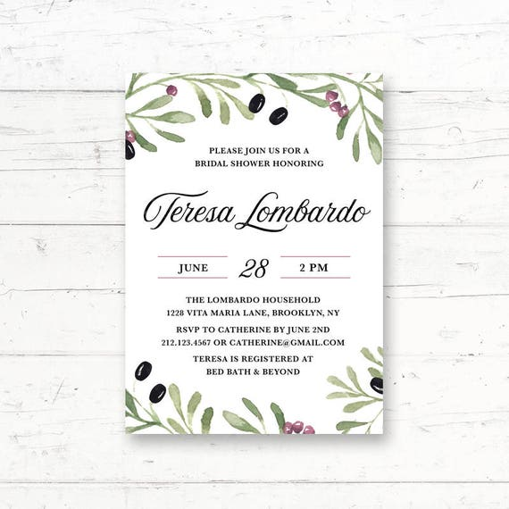 image relating to Bridal Shower Printable Invitations identified as Tuscan, Mediterranean, Italian, Bridal Shower, Kid Shower, Printable Invitation, Italy, Greek, Olives, Tuscany, Customized Printable Invite