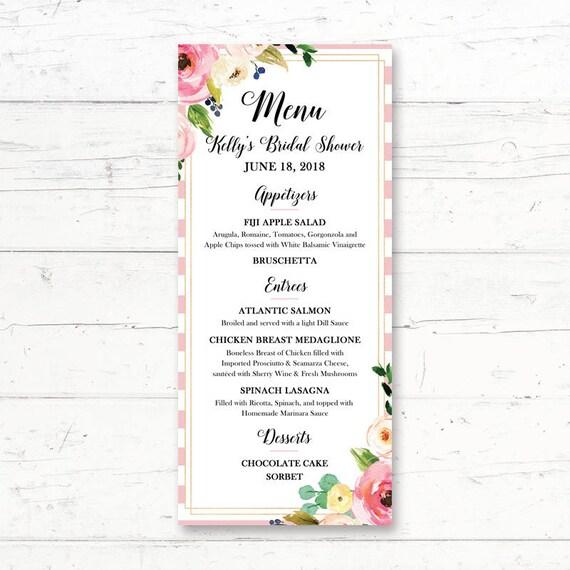 Spring Pink Floral Printable Menu Card Wedding Bridal Etsy