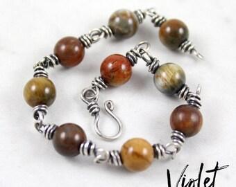 Hawk's Eye Quartz Bracelet / Sterling Silver Bracelet / Wire Wrapped Bracelet / Beaded Bracelet / Layering Bracelet