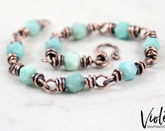 Copper Bracelet / Amazonite Bracelet / Copper Bracelet / Wire Wrapped Bracelet / Wire Wrapped Jewelry / Handmade Jewelry / 7th Anniversary