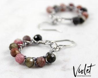 Tourmaline Earrings / Sterling Silver Earrings / Wire Wrapped Earrings / Handmade / Wire Wrapped Jewelry / Hoop Earrings