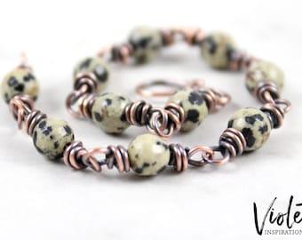 Copper Bracelet / Dalmatian Jasper / Wire Wrapped Bracelet / Wire Wrapped Bracelet / 7th Anniversary Gift / Handmade Jewelry