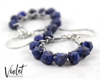Lapis Earrings / Sterling Silver Earrings / Wire Wrapped Earrings / Handmade / Wire Wrapped Jewelry / Hoop Earrings