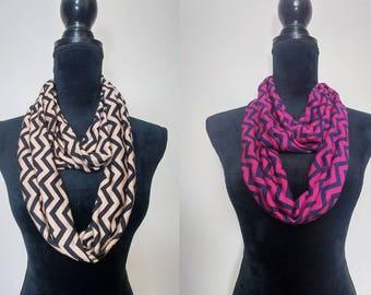 Chevron print infinity scarf, circle scarf