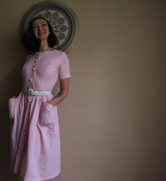 Pinstripe 50s house dress - image 1