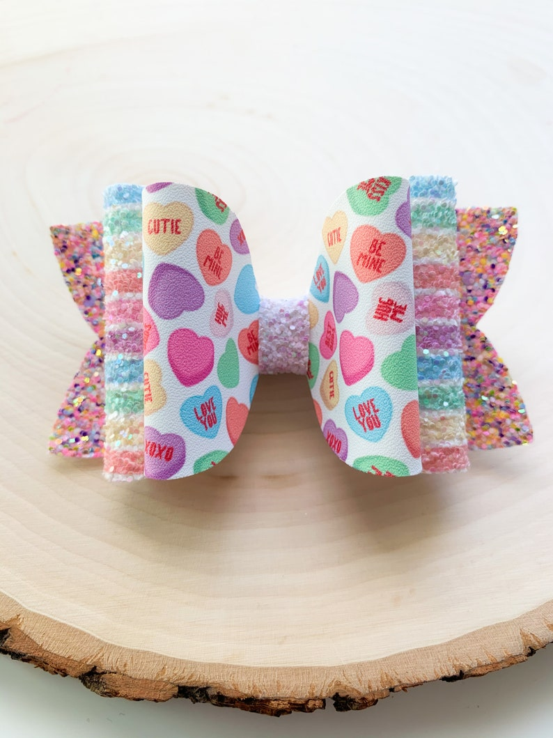 Valentines Day Bow \u2022 Candy Hair Bow \u2022 PInk Hair Bow \u2022 Toddler Bow