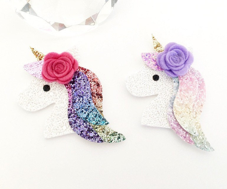 Unicorn Hair Clip with Rainbow Rhinestones