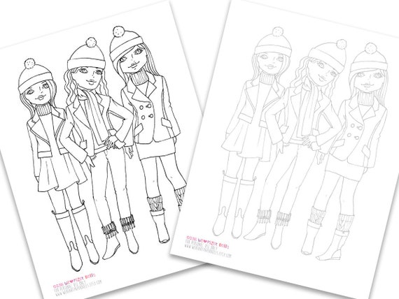 Fashion Coloring Page Printable Pdf Instant Download Winter Etsy