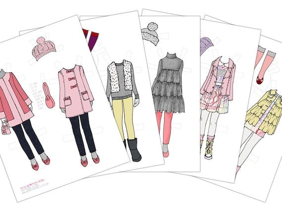 Winter Wardrobe Printable Paper Doll Digital Paper Doll Winter Etsy