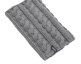 Mens Knitted Cowl Scarf Gray Chunky Natural Wool Merynos