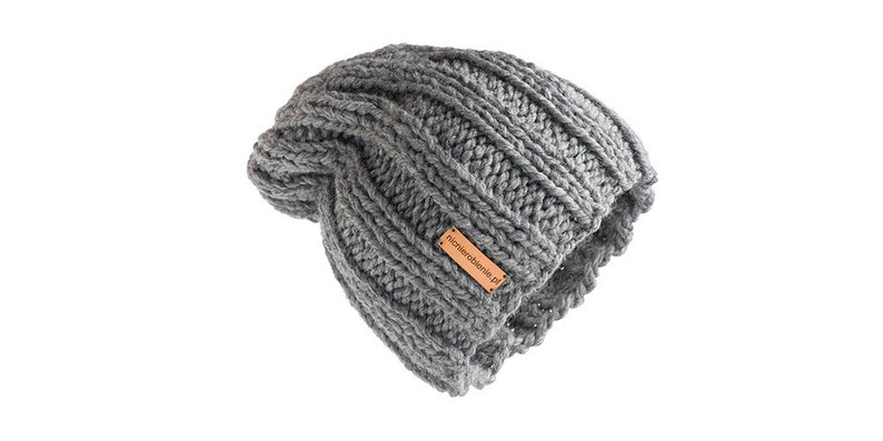 Thick Hat Classic Grey Design Wool hat for women beanie hat chunky hand knit hat grey Handmade