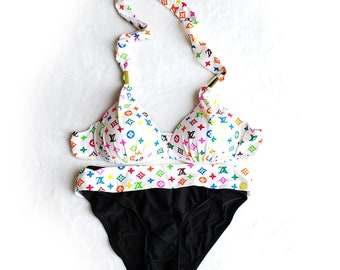 c3ee5c34de3454 inspired White Bright neon black Swimsuits Swimming suit Swim 2 piece  Bathing Monogram Luxury Padded Bra Panties Bikini Louis Vuitton Print