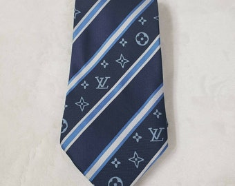 95a54c2246a0 LV Louis Vuitton inspired Monogram Blue striped lines 100% Silk Suit Necktie  Tie Man's Gift Man Luxury Style classic wedding party