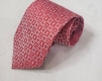 43b482624a49 LV Louis Vuitton inspired Monogram Red plaids checks 100% Silk Suit Necktie  Tie Man's Gift Man Luxury Style