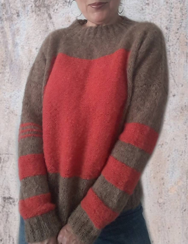 loose fit sweater Alpaca women sweater hand knitted women pullover