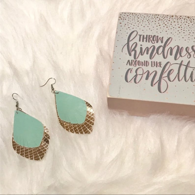 Mint and Gold Fringe Faux Leather Earrings Trendy Earring image 0