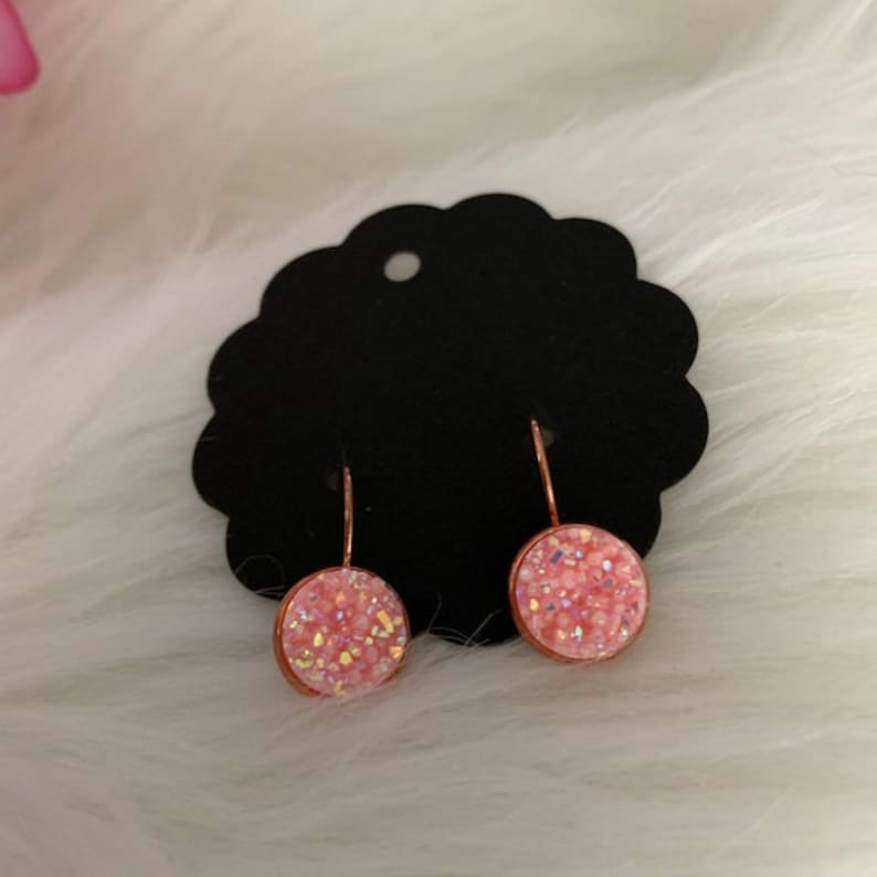 Blush Pink Iridescent Faux Druxy in Rose Gold Plated Lever image 0