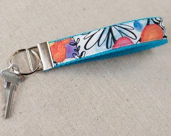 Key Fob, Keychain, Fabric Key Fob, Fabric Keychain, Fabric Wristlet | Orange and Aqua Flowers