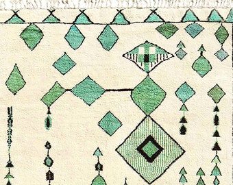 Beni Ourain, Moroccan Rug, Hand Knotted Rug, Wool Rug Cream, Teal, Aqua, Black Moroccan Fringe Rug, Beni M'Guild, Turquoise, Beige
