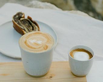 2 White Handmade Ceramic Tumblers, Warm Or Cold Drinking Cups, Ceramic Modern Coffee Mugs, SET OF TWO Mugs