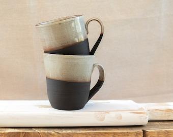 Set of 2 Large Coffee Mugs, Ceramic 14 fl. oz, one of a kind mugs