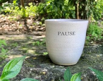 Ceramic Mug, Pottery Handmade Coffee Mugs, Large Tea Mugs, Pause mug