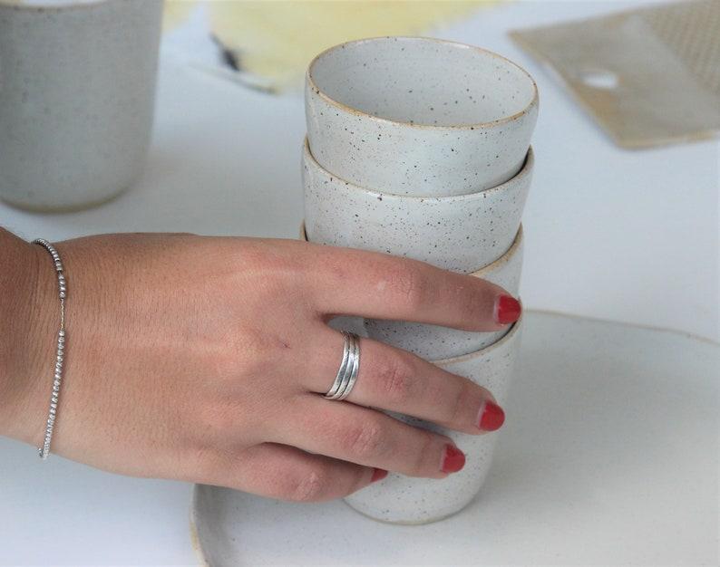 White Ceramic Modern Espresso Cups Set image 0