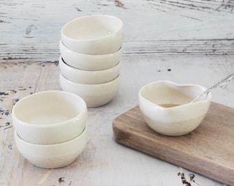 Set of small ceramic bowls, cream serving dish, Tapas bowls