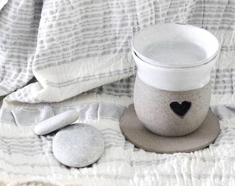 Ceramic oil burner, White gray oil diffuser, essential oil burner, home scents diffuser, Wax melt burner, aromatherapy diffuser