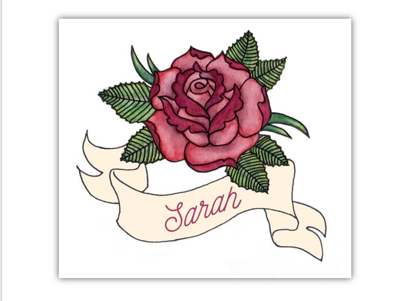 Custom Valentine S Day Card Rose Tattoo Love Card With Etsy