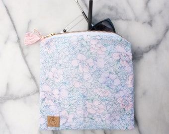 FREE SHIPPING Floral Pattern Travel Organizer, Personalized Makeup Bag, Zipper Pouch, Pencil Case, Makeup Bag, Customizable Tote Bag
