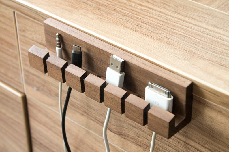 Wooden cord and cable organizer for laptop computer mac Quirky image 0