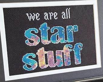 "Carl Sagan Quote Cross Stitch Pattern: ""We are all Star Stuff"" feat. NASA Hubble Nebula image Instant PDF Download"