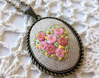 Floral necklace, Embroidered necklace, Gift for her