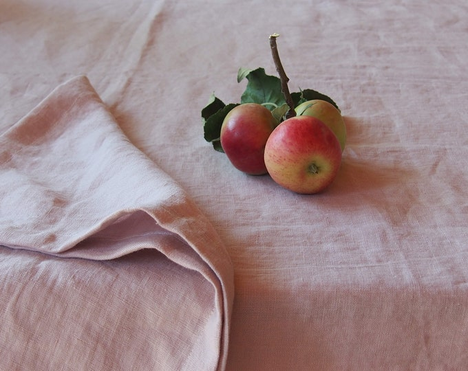 Linen tablecloth washed pink powdered. Linen washed tablecloth. Special elegant tablecloth. Powdered Pink Color. Events & special occasions.