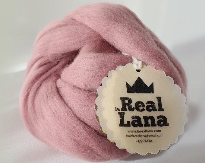 Lana XXL Rosa Vino. Ideal para tejer con los brazos. Lana de España.