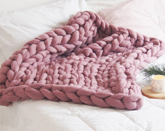 Manta XXL merina rosa antiguo (o rosa vino). Pura lana virgen de origen ecológico.