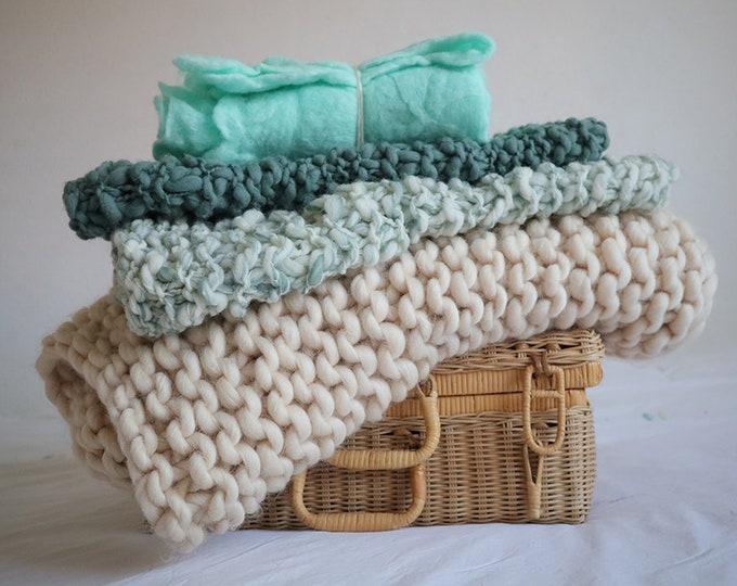 Set de 4mantitas de lana merina chunky para fotografía de bebés.