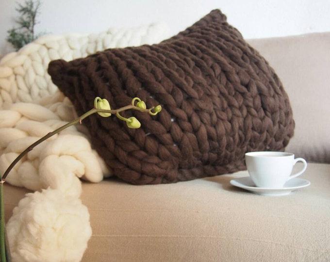 Merino wool cushion xxl, wool eco Brown XXL. Merino XL wool, Chunky brown wool. Cushion XXL, Spanish Merino. Pure Brown Merino. No dyes
