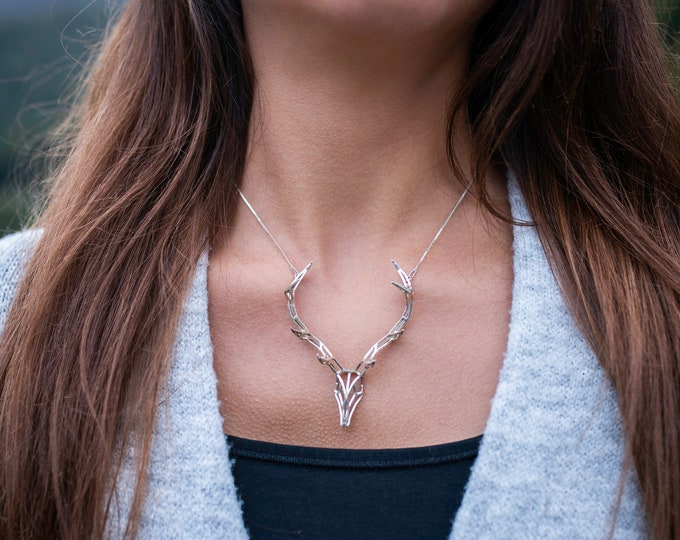 Featured listing image: Deer necklace silver