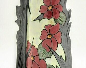 "Ceramic Vase -10"", Unique Flower Vase, Handmade flat design  Vase , Art pottery Vase, Home decoration, Interior decor"