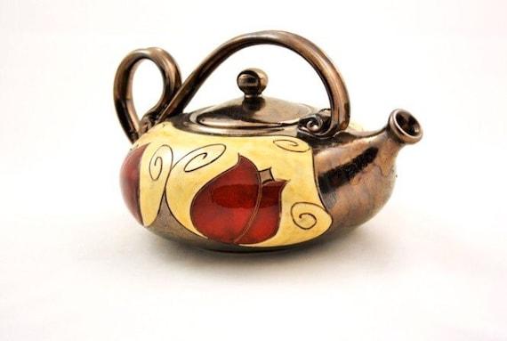 Unique quirky teapot Ceramic Tea Pot Handmade  Teapot Art pottery teapot Pottery Teapot 47oz Red /&Black Collection