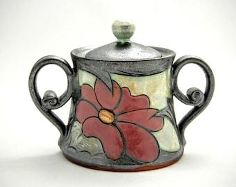 Pottery Sugar Bowl, Handmade sugar bowl, Ceramic Sugar canister, Ceramic Honey Pot, Clay sugar bowl, Christmas gift, Tri Ushi