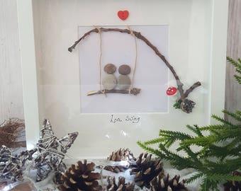 Pebble art LOVE SWING box frame picture