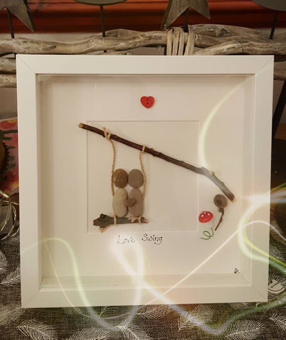 23cm frame Penguin love hand crafted pebble art picture
