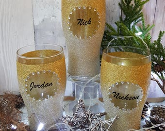 Personalised name ombre glitter pint glass