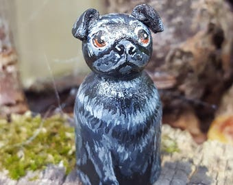 Pug Dog Pegdoll 3.2cm Miniature dog animal figure, customised likeness of your pet. Any short breed made to order from your photos.